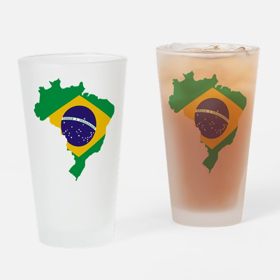 Brasil Flag Map Drinking Glass