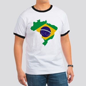 Brasil Flag Map Ringer T