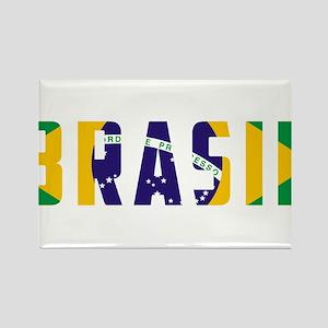 Brasil-Brazil Flag Rectangle Magnet