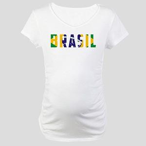 Brasil-Brazil Flag Maternity T-Shirt