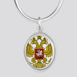 Russian Eagle Silver Oval Necklace