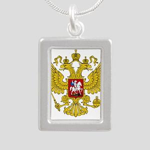 Russian Eagle Silver Portrait Necklace