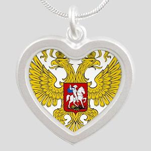 Russian Eagle Silver Heart Necklace