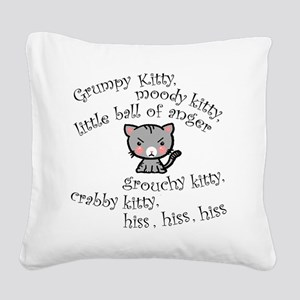 Grumpy Kitty Square Canvas Pillow