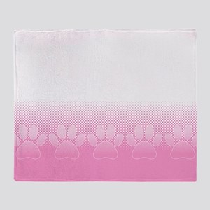 Pink And White Paws With Newsprint B Throw Blanket