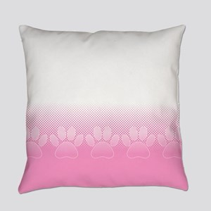 Pink And White Paws With Newsprint Everyday Pillow