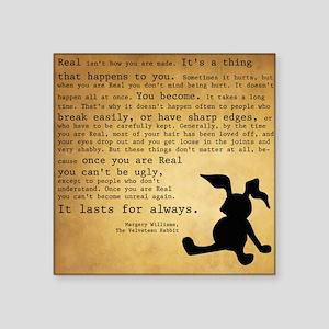 "Velveteen Rabbit Print Square Sticker 3"" x 3"""