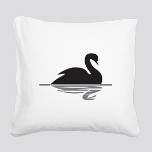 Black Swan Square Canvas Pillow