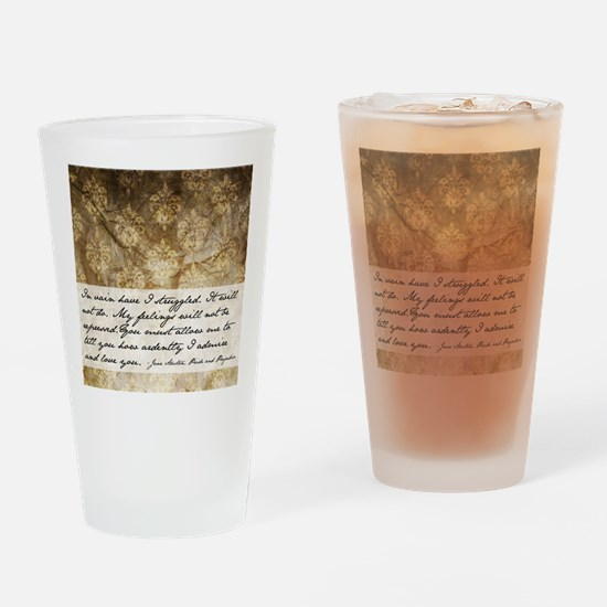 Pride and Prejudice Quote Drinking Glass