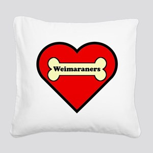 Weimaraners Heart Square Canvas Pillow