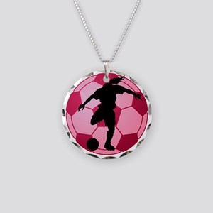 soccer ball(woman) Necklace Circle Charm