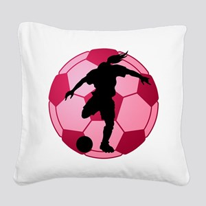 soccer ball(woman) Square Canvas Pillow
