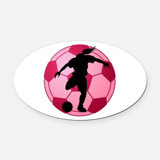 soccer ball(woman) Oval Car Magnet