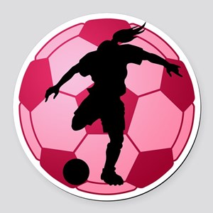 soccer ball(woman) Round Car Magnet