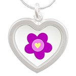 flower pink Silver Heart Necklace