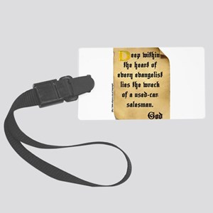 God and Used Car Salesmen Large Luggage Tag