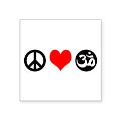 Peace Love Yoga Square Sticker 3