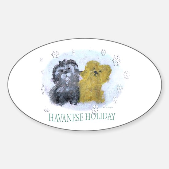 Havanese Holiday Oval Decal