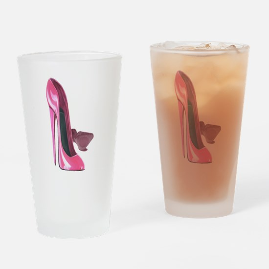 Pink Stiletto Shoes Art Drinking Glass