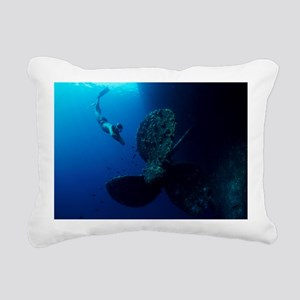 Diver by shipwreck's propeller - Pillow