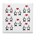 Penguins In Love Tile Coaster