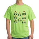 Penguins In Love Green T-Shirt
