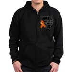 Never Give Up Leukemia Zip Hoodie (dark)