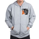 Never Give Up Leukemia Zip Hoodie