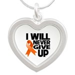 Never Give Up Leukemia Silver Heart Necklace