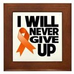 Never Give Up Leukemia Framed Tile