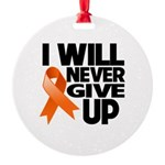 Never Give Up Leukemia Round Ornament