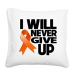 Never Give Up Leukemia Square Canvas Pillow