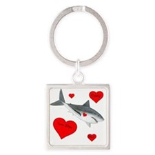 Personalized Shark - Heart Square Keychain