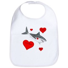 Personalized Shark - Heart Cotton Baby Bib