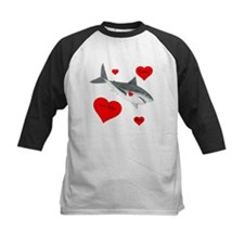 Personalized Shark - Heart Kids Baseball Tee
