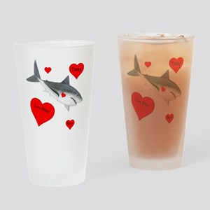 Personalized Shark - Heart Drinking Glass