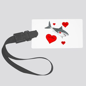 Personalized Shark - Heart Large Luggage Tag
