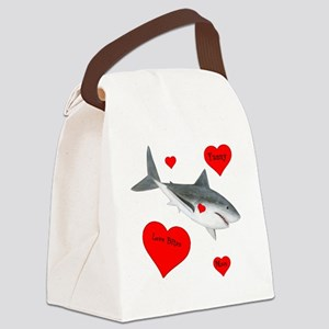 Personalized Shark - Heart Canvas Lunch Bag