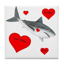 Personalized Shark - Heart Tile Coaster