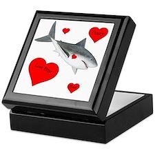Personalized Shark - Heart Keepsake Box