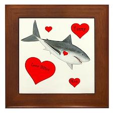 Personalized Shark - Heart Framed Tile