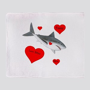 Personalized Shark - Heart Throw Blanket