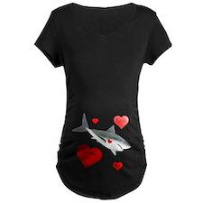 Personalized Shark - Heart Maternity Dark T-Shirt