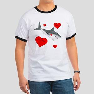 Personalized Shark - Heart Ringer T