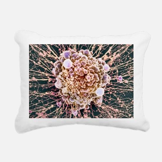 HeLa cell dying, SEM - Rectangular Canvas Pillow