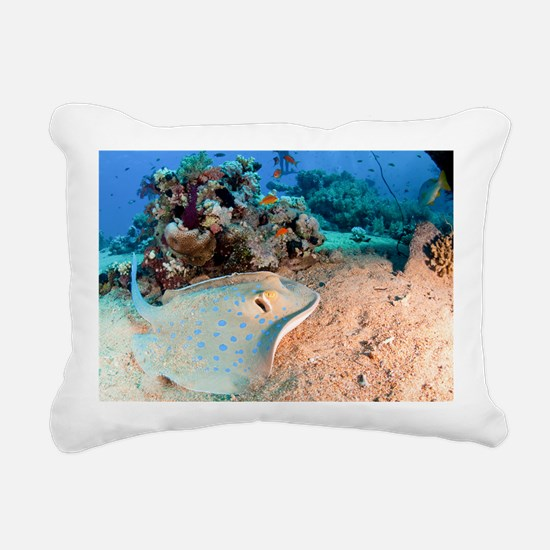Blue-spotted stingray - Rectangular Canvas Pillow