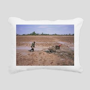 Farmer ploughing field - Rectangular Canvas Pillow