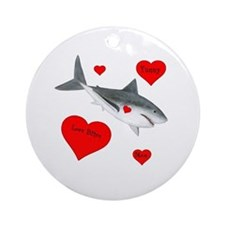 Personalized Shark - Heart Round Ornament