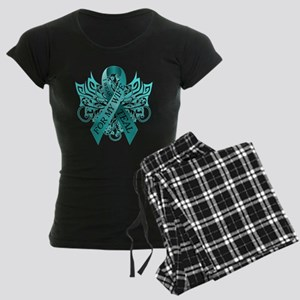 I Wear Teal for my Wife Women's Dark Pajamas