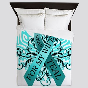 I Wear Teal for my Wife Queen Duvet